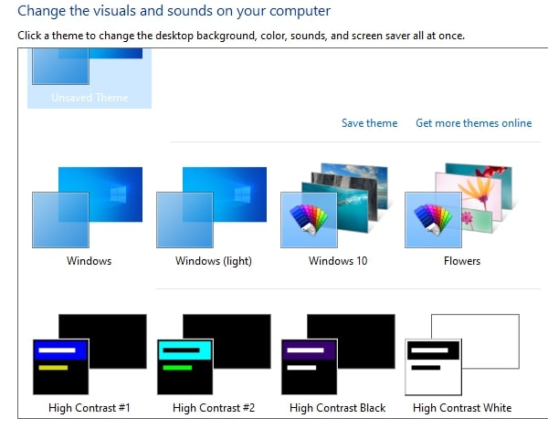 Turn Off High Contrast in Windows 10 via Themes