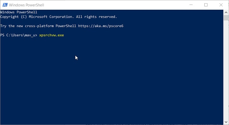 The XPS Viewer's PowerShell command in Windows 10