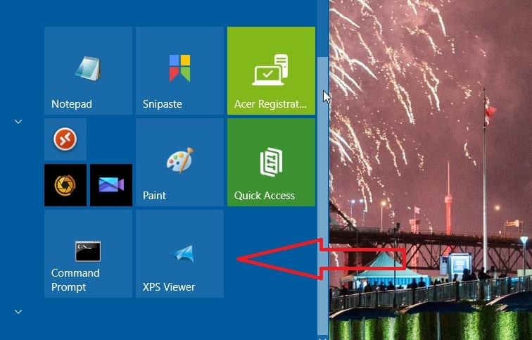 The XPS Viewer shortcut tile in Windows 10