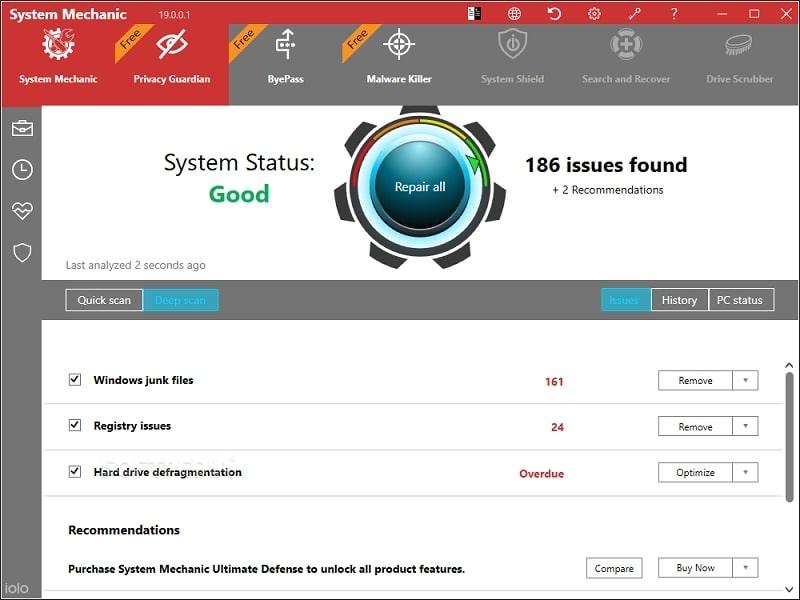 IoIo System Mechanics registry cleaner